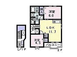 千葉県船橋市三咲1丁目の賃貸アパートの間取り