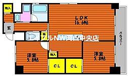 富田町二丁目マンション(仮) 9階2LDKの間取り
