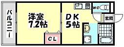 大阪府高石市東羽衣1丁目の賃貸アパートの間取り