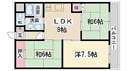 兵庫県伊丹市南鈴原1丁目の賃貸マンションの間取り