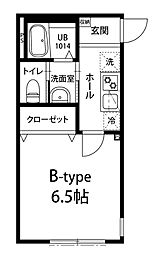 JR外房線 本千葉駅 徒歩10分の賃貸アパート 2階1Kの間取り
