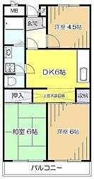 東京都東村山市恩多町5丁目の賃貸マンションの間取り