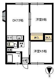 高田ハイツA[201号室]の間取り