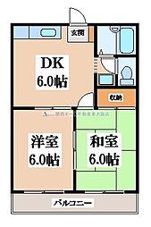 大阪府東大阪市河内町の賃貸マンションの間取り