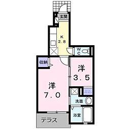 JR鹿児島本線 折尾駅 バス18分 相坂下車 徒歩9分の賃貸アパート 1階1SKの間取り