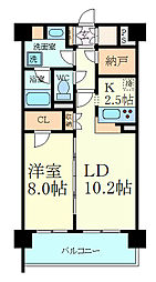 阪神本線 芦屋駅 徒歩10分の賃貸マンション 8階1SLDKの間取り