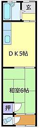 レイク日置 2階1DKの間取り