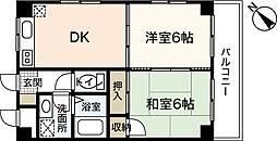 シャトル江波 4階2DKの間取り
