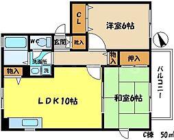 サンクレストコートC棟[2階]の間取り