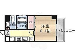 エステムプラザ京都ステーションレジデンシャル 2階1Kの間取り
