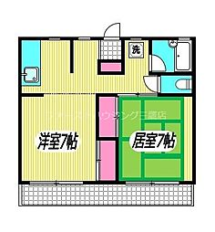 JR中央本線 三鷹駅 徒歩10分の賃貸アパート 2階2DKの間取り