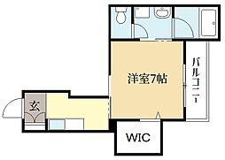 近鉄京都線 大久保駅 徒歩4分の賃貸マンション 3階1Kの間取り
