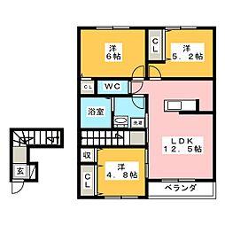 リオン湘南 2階3LDKの間取り
