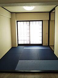 2つある和室のうち、一部屋の畳は珍しい色でオシャレです