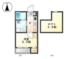 メゾンドグレース[2階]の間取り