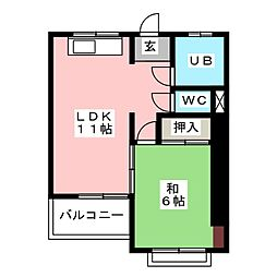 社マンション[3階]の間取り