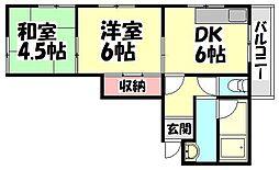 大阪府堺市西区浜寺石津町東2丁の賃貸マンションの間取り