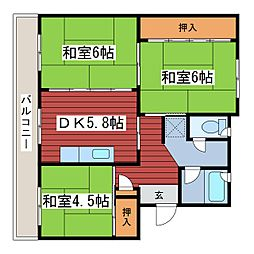 福住タウン1[2階]の間取り