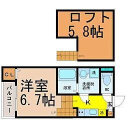 愛知県名古屋市北区大曽根1の賃貸アパートの間取り