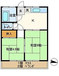 星野ハイツ 202[2階]の間取り