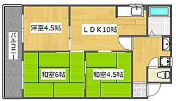 大阪府高槻市如是町の賃貸マンションの間取り