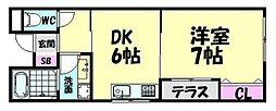 JR阪和線 北信太駅 徒歩5分の賃貸アパート 2階1DKの間取り