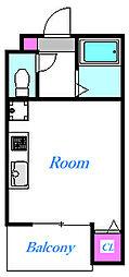 プレシャス鶴ヶ島 2階ワンルームの間取り