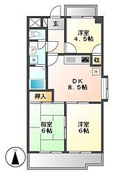 ロイヤルシティー松本[3階]の間取り