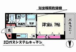 日興桜川ハイツ 4階1Kの間取り