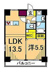 LUXENA東品川 2階1LDKの間取り