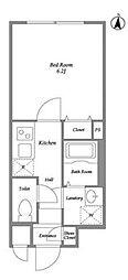 東急東横線 都立大学駅 徒歩2分の賃貸マンション 2階1Kの間取り