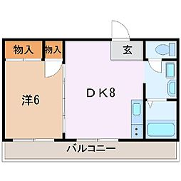 静岡県富士市本市場の賃貸マンションの間取り