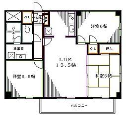 JR中央本線 高円寺駅 徒歩10分の賃貸マンション 2階3LDKの間取り