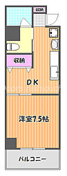 JR宇野線 大元駅 徒歩8分の賃貸マンション 5階1DKの間取り