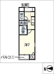 CUBE上小田井B棟[2階]の間取り