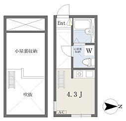 アルモ平安 2階ワンルームの間取り