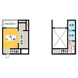 LaLa cote 1階ワンルームの間取り