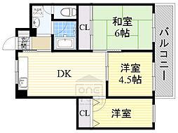 おおさか東線 城北公園通駅 徒歩4分の賃貸マンション 3階3DKの間取り
