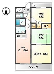 ラ・ミノール[4階]の間取り