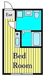 東京メトロ千代田線 町屋駅 徒歩10分の賃貸アパート 4階ワンルームの間取り