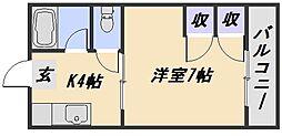 広島県広島市安佐南区上安1丁目の賃貸アパートの間取り