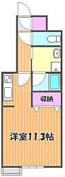 JR宇野線 大元駅 徒歩10分の賃貸マンション 4階ワンルームの間取り
