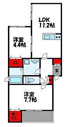JR鹿児島本線 古賀駅 徒歩9分の賃貸アパート 2階2LDKの間取り