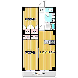 飯島パークビル[203号室]の間取り
