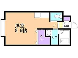 東林ハイツA 2階ワンルームの間取り