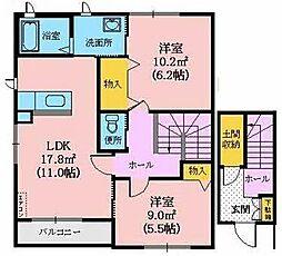 シャーメゾン楢山B[203号室]の間取り