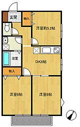 旭区中沢1丁目 ソレイユ202号室[2階]の間取り