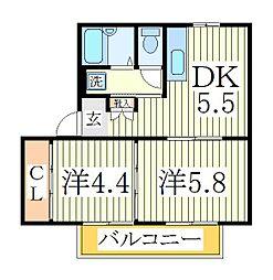 千葉県流山市松ケ丘5丁目の賃貸アパートの間取り