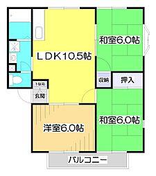 埼玉県朝霞市岡3丁目の賃貸アパートの間取り