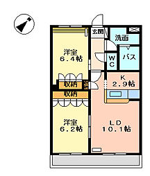 岡山県岡山市東区広谷の賃貸アパートの間取り